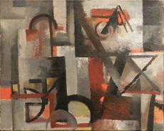 Youla CHAPOVAL - Pintura - Composition rouge et grise