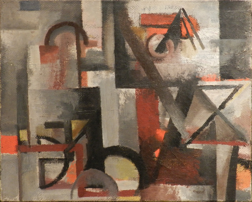 Youla CHAPOVAL - Painting - Composition rouge et grise