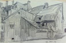 Lyonel FEININGER - Drawing-Watercolor - Backyard in Weimar | Hinterhof in Oder um Weimar