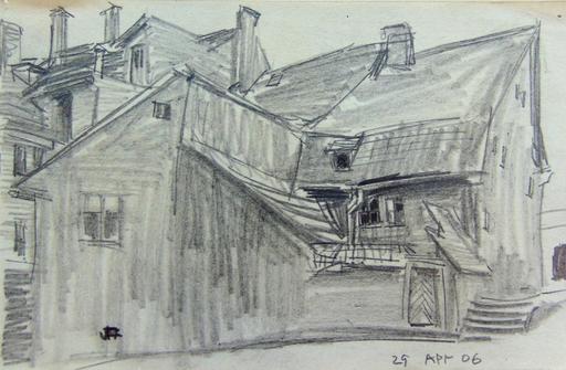 Lyonel FEININGER - Dibujo Acuarela - Backyard in Weimar | Hinterhof in Oder um Weimar