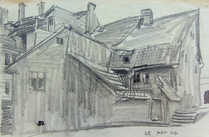 Lyonel FEININGER - Drawing-Watercolor - Backyard in Weimar | Hinterhof in Oder um Weimar