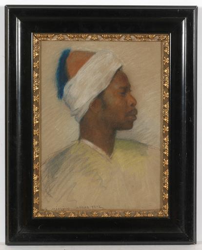 "Alphons Leopold MIELICH - Gemälde - ""Man from Assuan, Egypt"", pastel"