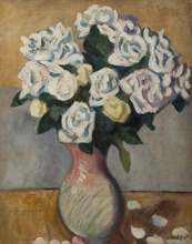 路易斯·瓦尔塔 - 绘画 - Bouquet de roses blanches