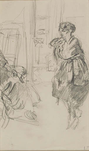 Édouard VUILLARD - Dibujo Acuarela - Annette et Madame Vuillard dans l'atelier
