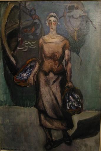 André VERDILHAN - Painting - Vendeuse de poissons