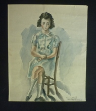 """Hermine DAVID - Drawing-Watercolor - """"Fillette assise"""""""