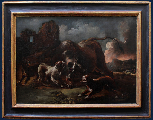 Giovanni CRIVELLI - Painting - Fight between dogs and bison