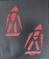 ATCHAMA - Painting - les skieurs