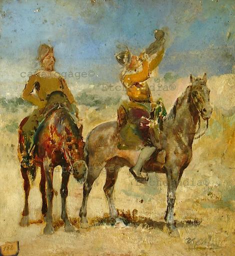 Ulpiano CHECA Y SANZ - Painting - La halte - Alto en el camino