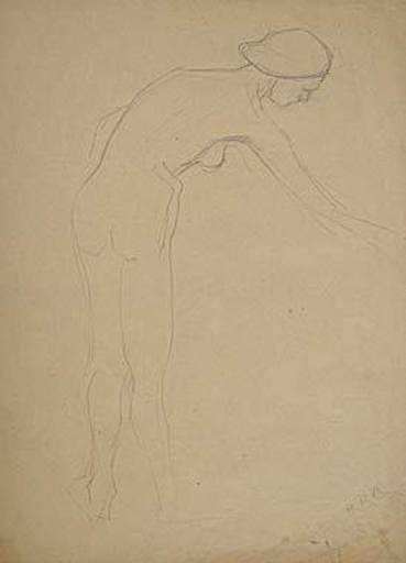 Broncia KOLLER-PINELL - Drawing-Watercolor - Gebeugter Frauenakt