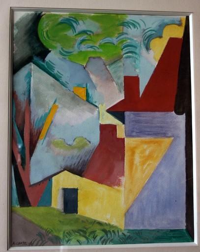 André LHOTE - Drawing-Watercolor - Paysage, maisons au toit rouge