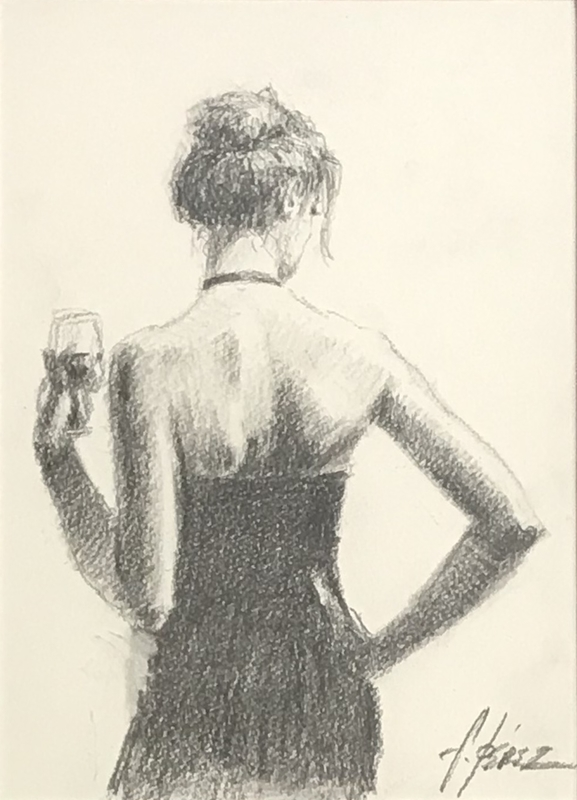 Fabian PEREZ - Drawing-Watercolor - Girl with Red Hair