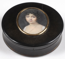 "Jean Baptiste ISABEY - Miniature - ""Round box with miniature portrait of a girl"", 1800/05"