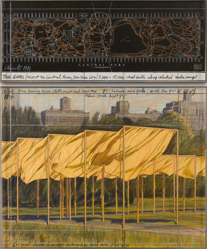 CHRISTO - Drawing-Watercolor - The Gates (Project for Central Park, New York City)