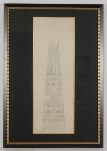 Georg Christian WILDER - Dibujo Acuarela - Important Viennese Architectural Drawing, mid 1820s