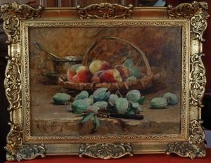 René Louis CHRÉTIEN - Pintura - nature morte aux pêches et amandes