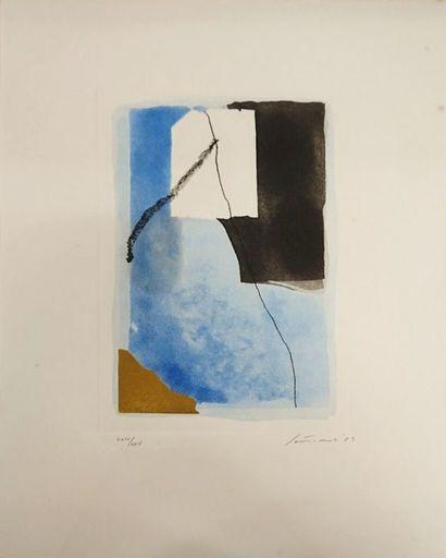 Giuseppe SANTOMASO - Grabado - Fond bleu avec carré blanc