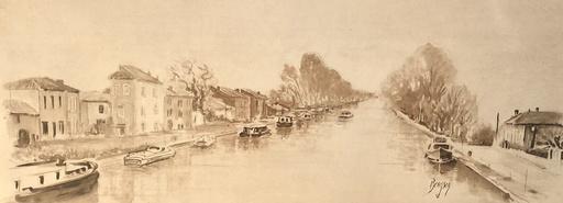 Anne BERGSON - Disegno Acquarello - Le canal