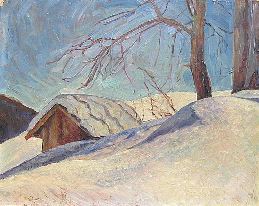 Otto ILLIES - Peinture - Wintersonne ( Hütte im Schnee )
