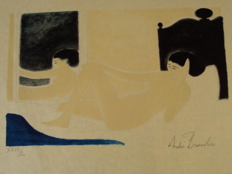 "André BRASILIER - Grabado - ""Nu au miroir""1983."