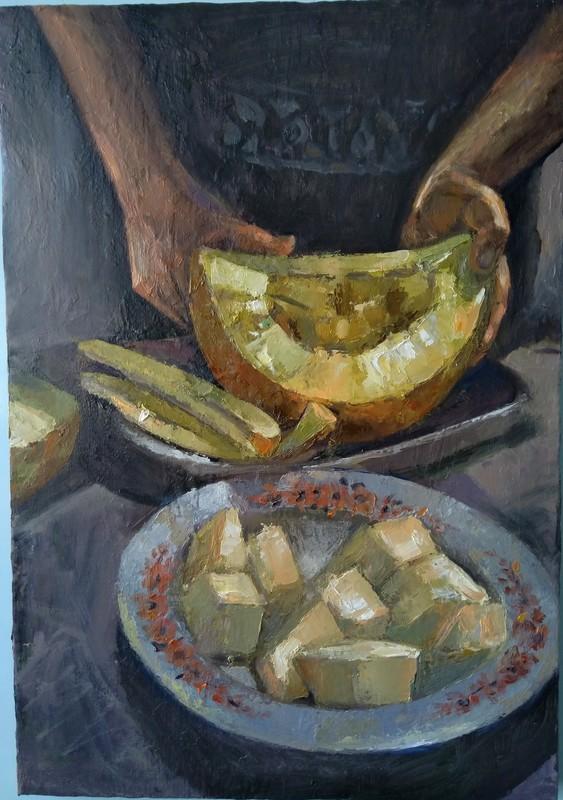 Ohanyan KAMSAR - Pittura -  Melon still life