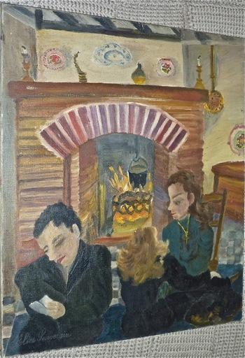 "Alice SOUVERAIN - Pintura - ""Feu de cheminée"""