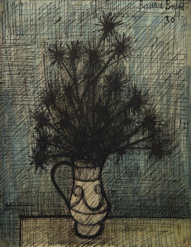 Bernard BUFFET - Drawing-Watercolor - Fleurs dans un vase