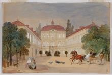 "Alexander II RITTER VON BENSA - Painting - ""On Palace Yard"", Watercolor"
