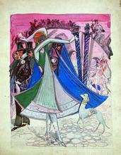 "Boris Israelewitsch ANISFELD - Drawing-Watercolor - Decor for Mikhail Mordkin's ballet ""Carnival"""