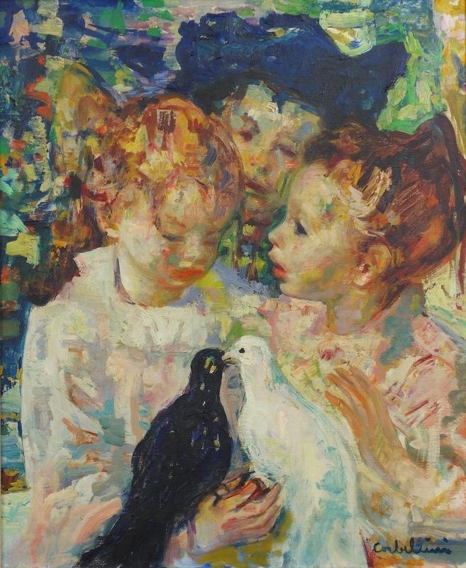 Luigi CORBELLINI - Painting - Children with Doves