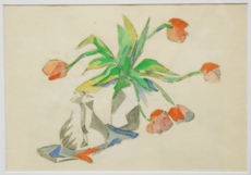 "Albert HUYOT - Drawing-Watercolor - ""Cubist flower vase & coffee pot"" Circa 1917-20"
