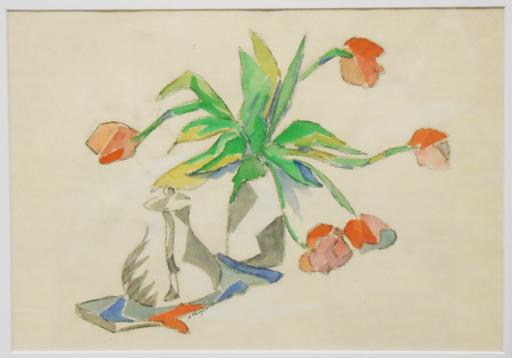 "Albert HUYOT - Dibujo Acuarela - ""Cubist flower vase & coffee pot"" Circa 1917-20"