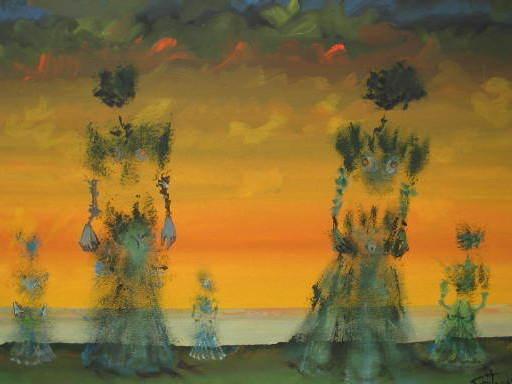 Lucien COUTAUD - Disegno Acquarello - Elles arrivent,1975.