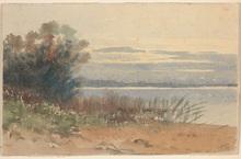 """Vincenz HAVLICEK - Dibujo Acuarela - Vincenz Havlicek (1864-1915) """"Lake view"""" watercolor, 1891"""