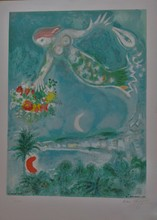 马克•夏加尔 - 版画 - Sirène et Poissons, from Nice et la Côte d'Azur (C.S. 28)
