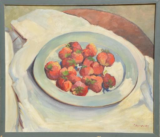 Frank HOROWITZ - Pintura - Still life with a strawberry