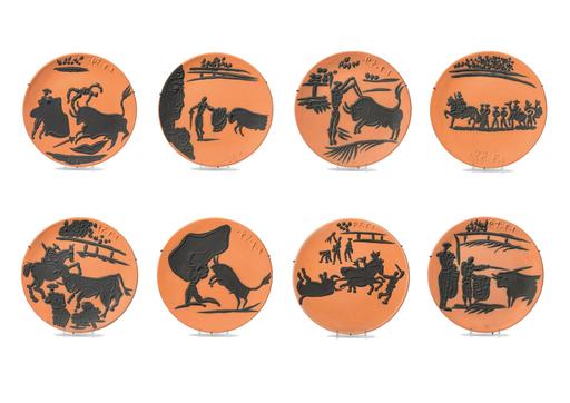 巴勃罗•毕加索 - 雕塑 - Corrida Scenes of 8 pieces