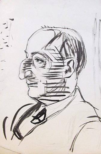 Erich HARTMANN - Disegno Acquarello - #19910: Mann mit Hakennase.