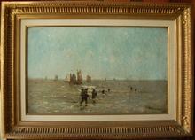 Paul KUHSTOSS - Peinture - pêcheurs en Mer du Nord
