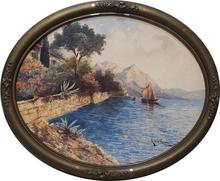 """Heinrich VON WERTHEIM - Dessin-Aquarelle - """"Riva on the Lake Garda"""", Watercolor, 1918"""