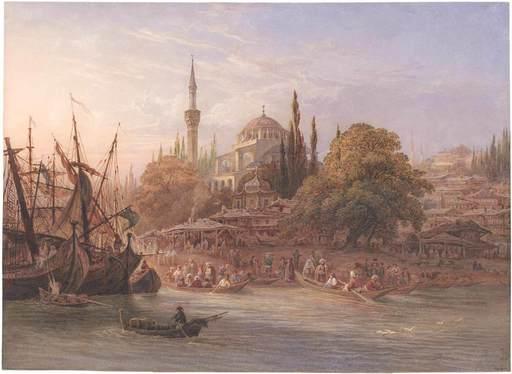 Friedrich HORNER - Drawing-Watercolor - Konstantinopel, die Marine von Pera mit der Tophane Moschee.
