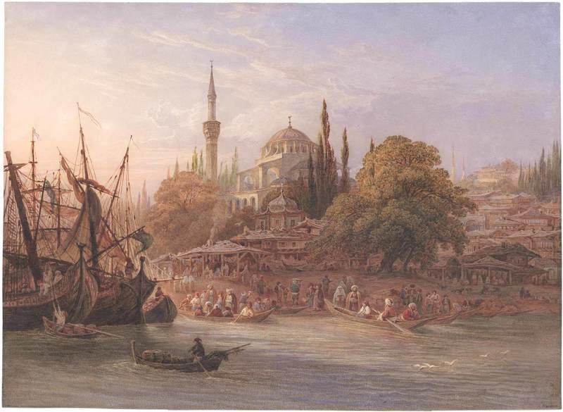 Friedrich HORNER - Disegno Acquarello - Konstantinopel, die Marine von Pera mit der Tophane Moschee.