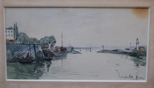 Fernand HERBO - Drawing-Watercolor - Le port de Honfleur