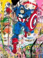 MR BRAINWASH - Peinture - Captain America, 2018
