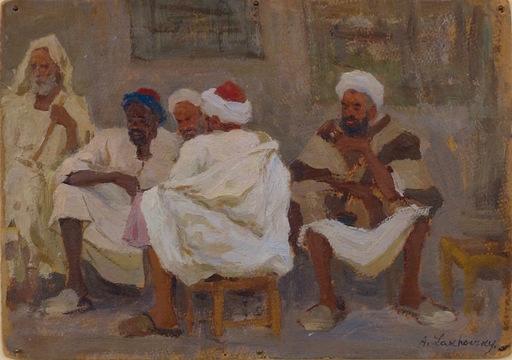 Arnold Borisovich LAKHOVSKY - Painting - Orientalist Scene (Men on a Village Street)