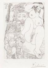 Pablo PICASSO - Estampe-Multiple - Jeune courtisane avec un gentilhomme, un sculpteur et un vie