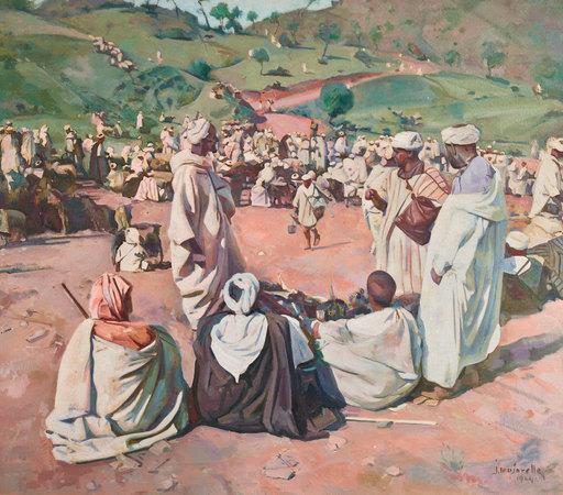 Jacques MAJORELLE - Peinture - Le souk aux moutons