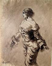 Louis ANQUETIN - Dessin-Aquarelle - Studie einer barbusigen Frau / Study of a topless nude
