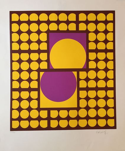 Victor VASARELY - Estampe-Multiple - Yellow-purple
