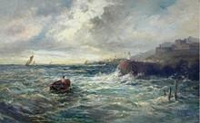 """Louis Eugène LEROUX - Painting - Vor der Hafeneinfahrt Peel auf der """"Isle of Man"""""""